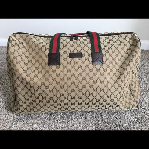 cb9d65eb333 Gucci Handbags - Large Gucci Canvas Duffle Bag